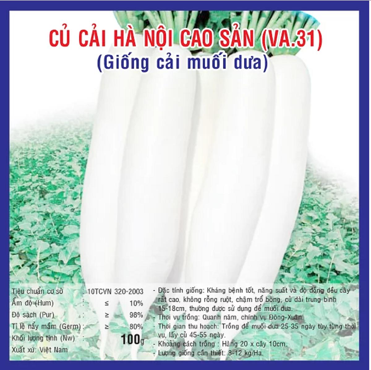 CỦ CẢI HÀ NỘI CAO SẢN  (VA.31) 100 gram