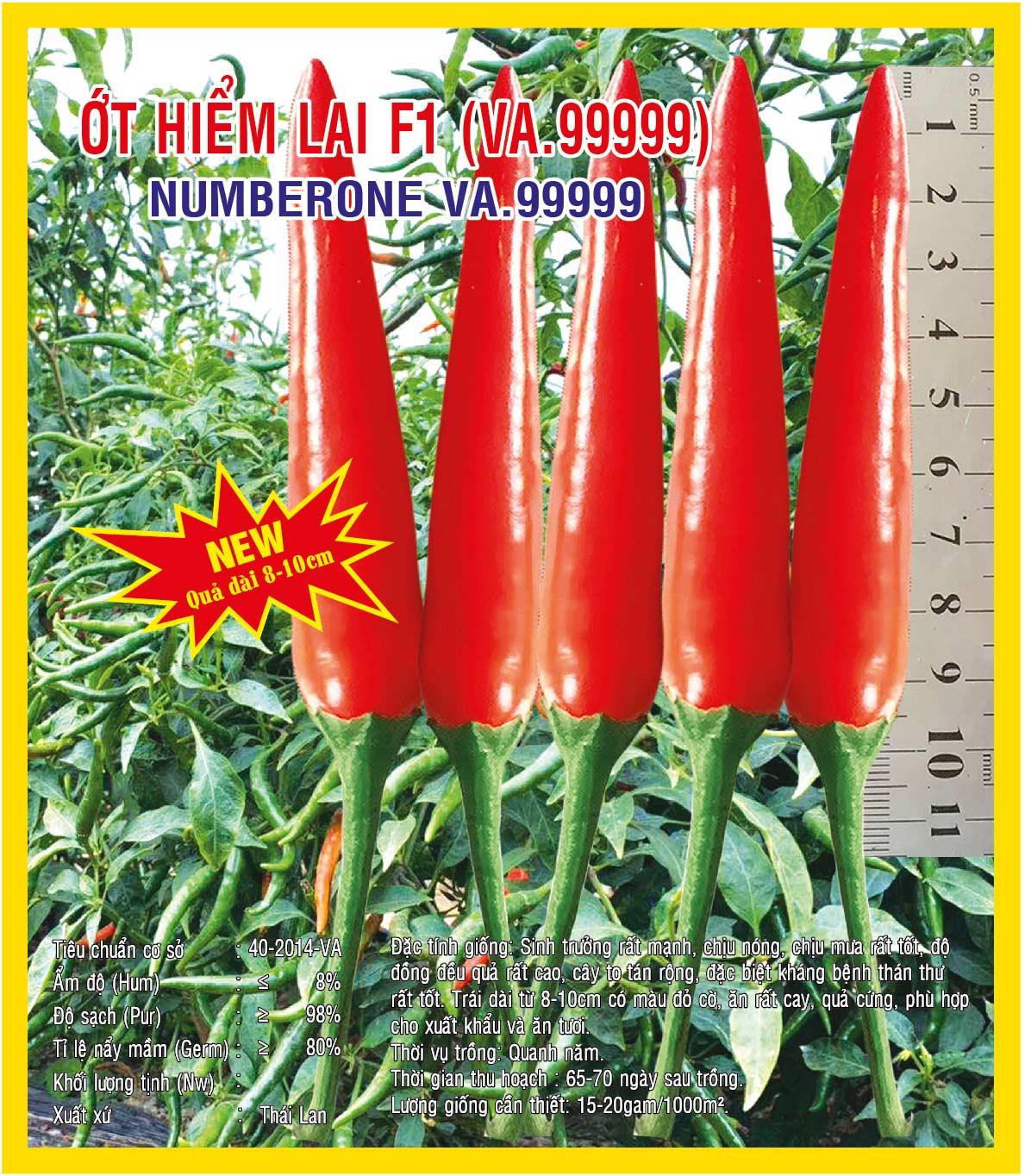 Hạt giống Ớt Hiểm Lai F1 Numberone (VA.99999) 5gr